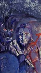 """Fenrir's Bane: The God Tyr"". Leah Porter, Watercolor with Digital Effects"